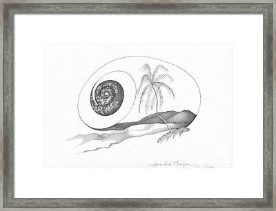 Abstract Landscape Art Black And White Coastal Expanded Horizon By Romi Framed Print by Megan Duncanson