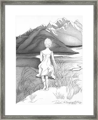 Abstract Landscape Art Black And White Dream The Jumping Off Place By Romi Framed Print