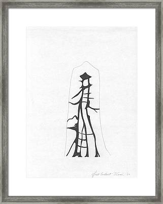 Abstract Landscape Art Black And White First Contact By Romi Framed Print
