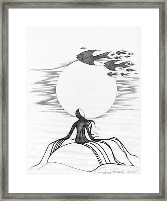 Abstract Landscape Art Black And White Goin South By Romi Framed Print