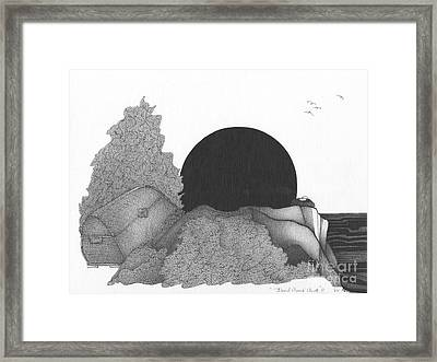 Abstract Landscape Art Black And White Landscape Dead Mans Chest By Romi Framed Print