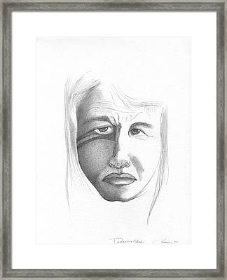 Abstract Landscape Art Black And White Portrait Damascus Steel By Romi Framed Print