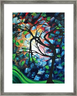 Abstract Landscape Art Original Colorful Painting Tree Maze By Madart Framed Print by Megan Duncanson