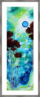 Abstract Landscape Art Original Tree And Moon Painting Blue Moon By Madart Framed Print by Megan Duncanson