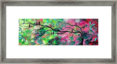 Abstract Landscape Bird And Blossoms Original Painting Birds Delight By Madart Framed Print