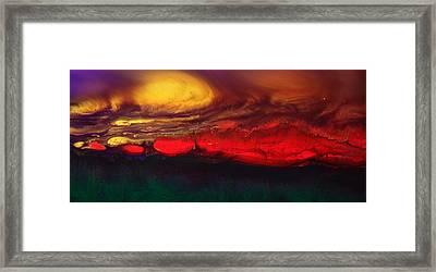 Abstract Landscape Fluid Art Dancing Sunset By Kredart  Framed Print by Serg Wiaderny