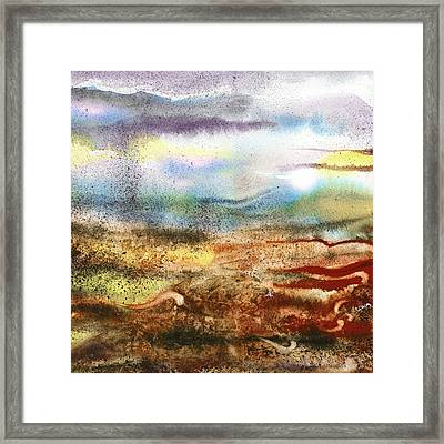 Abstract Landscape Morning Mist Framed Print