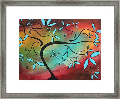 Abstract Landscape Original Painting Soft Breeze By Madart Framed Print by Megan Duncanson