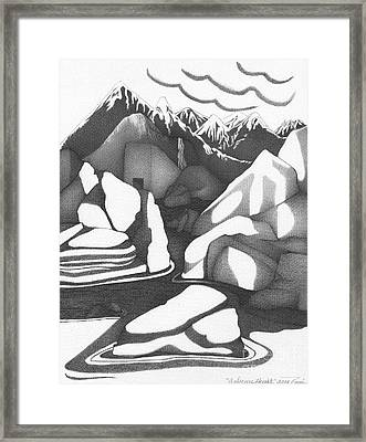 Abstract Landscape Rock Art Black And White By Romi Framed Print