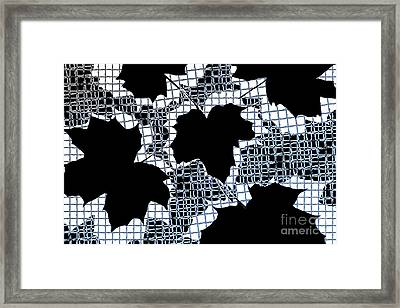 Abstract Leaf Pattern - Black White Light Blue Framed Print by Natalie Kinnear