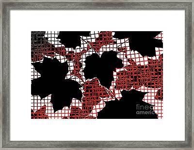 Abstract Leaf Pattern - Black White Red Framed Print by Natalie Kinnear