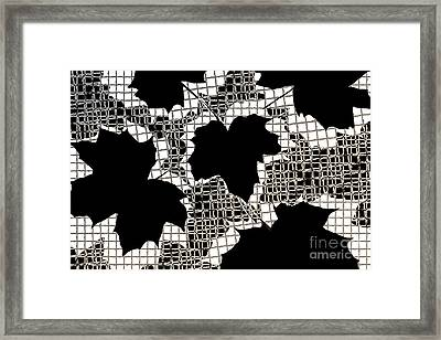 Abstract Leaf Pattern - Black White Sepia Framed Print