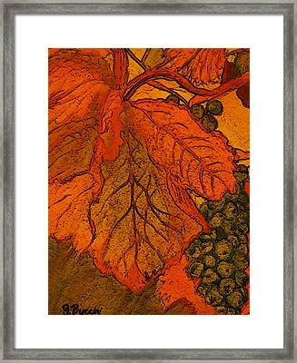 Abstract Leaves And Grapes Framed Print