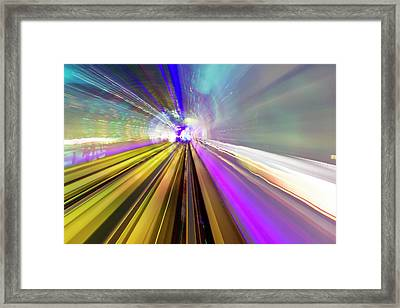 Abstract Light Trails Of Underground Framed Print