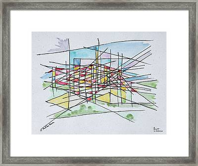 Abstract Line Drawing Of Saint Paul De Framed Print