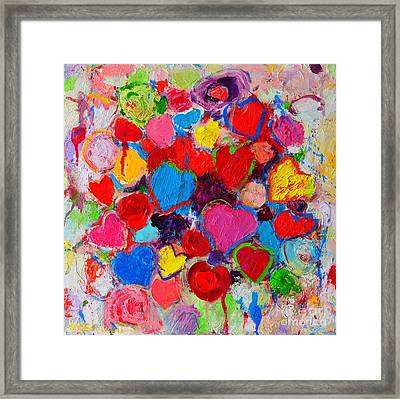 Abstract Love Bouquet Of Colorful Hearts And Flowers Framed Print