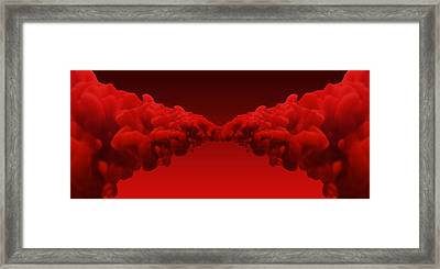 Abstract Merging Red Inks Framed Print