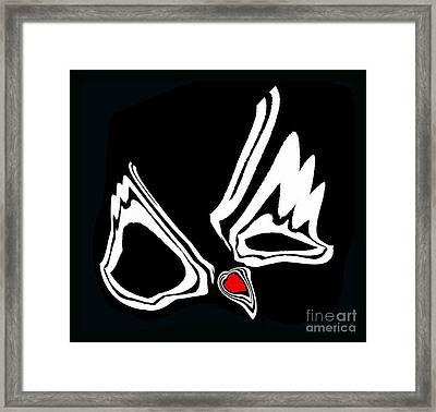 Minimalism Art Black White Red Heart No.34. Framed Print
