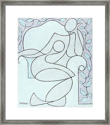abstract modern art - Nude with Lines and Vines Framed Print