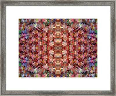 Abstract Mosaic In Red Rainbow Framed Print by Beverly Claire Kaiya
