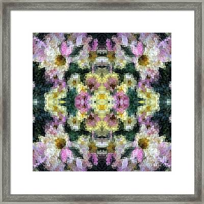 Abstract Mosaic In Yellow Pink Green Framed Print by Beverly Claire Kaiya