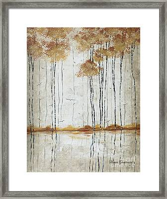 Abstract Neutral Landscape Pond Reflection Painting Mystified Dreams I By Megan Ducanson Framed Print by Megan Duncanson