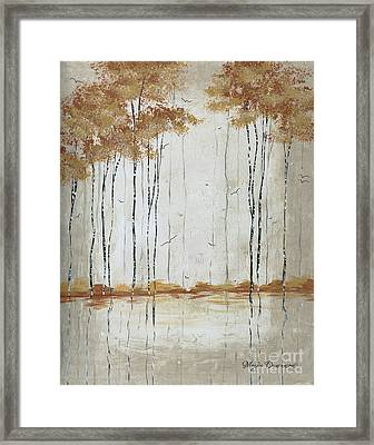 Abstract Neutral Landscape Pond Reflection Painting Mystified Dreams II By Megan Ducanson Framed Print by Megan Duncanson