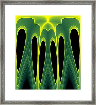 Abstract Of Balanced Green Framed Print by Linda Phelps