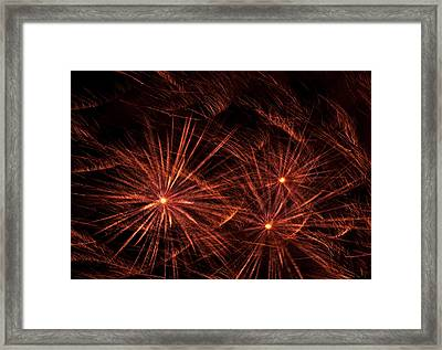 Abstract Of Fireworks On Black Framed Print by Jess Kraft