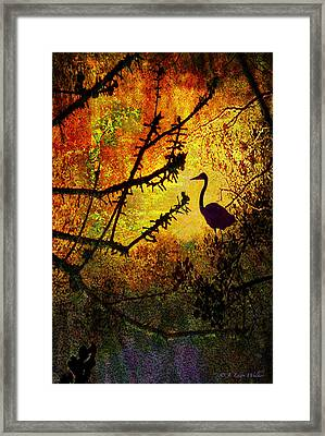 Abstract Of Great Blue Heron At Sunrise Framed Print by J Larry Walker