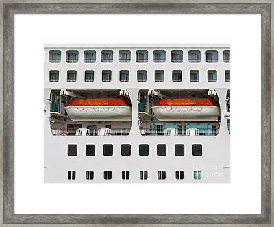 Abstract Of Lifeboats On A Large Cruise Ship Framed Print by Stephan Pietzko