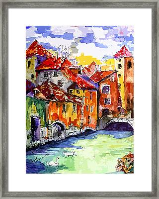 Abstract Old Houses In Annecy France Framed Print