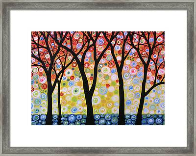 Abstract Original Modern Trees Landscape Print Painting ... Joyous Sky Framed Print by Amy Giacomelli