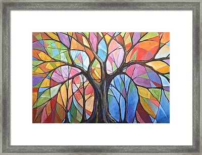 Abstract Original Tree Art Painting ... Colors Of The Wind Framed Print