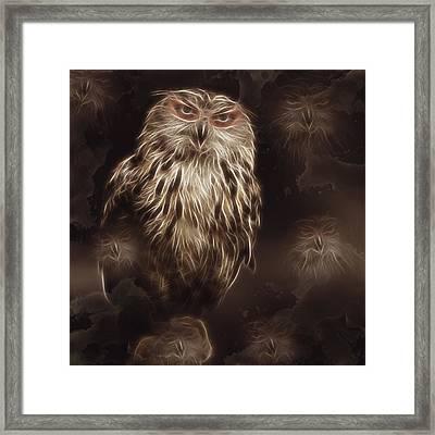 Abstract Owl Digital Artwork Framed Print by Georgeta Blanaru