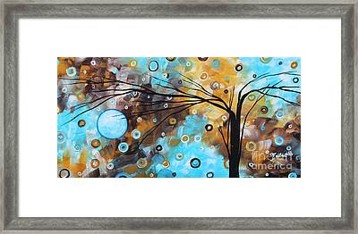 Abstract Painting Chocolate Brown Whimsical Landscape Art Baby Blues By Madart Framed Print by Megan Duncanson