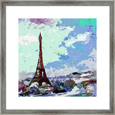 Abstract Paris Memories In Blue Framed Print