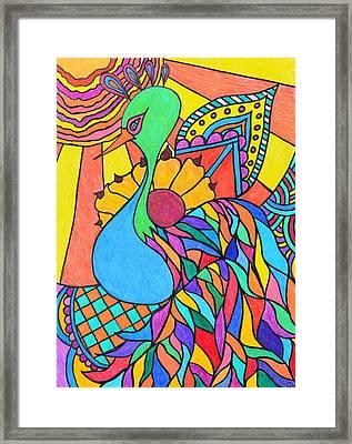 Abstract Peacock Framed Print by Carol Hamby
