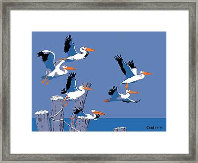 abstract Pelicans seascape tropical pop art nouveau 1980s florida birds large retro painting  Framed Print by Walt Curlee