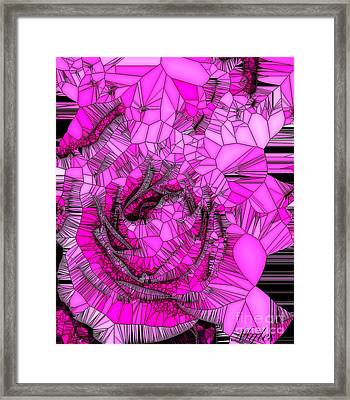 Abstract Pink Rose Mosaic Framed Print by Saundra Myles