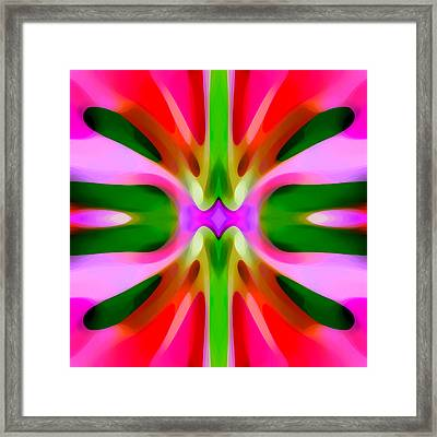 Abstract Pink Tree Symmetry Framed Print by Amy Vangsgard