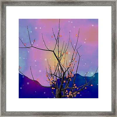 Abstract Plum Framed Print by GuoJun Pan