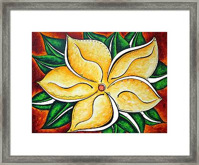 Abstract Pop Art Yellow Plumeria Flower Tropical Passion By Madart Framed Print by Megan Duncanson