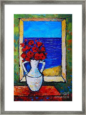 Abstract Poppies By The Sea Framed Print by Mona Edulesco