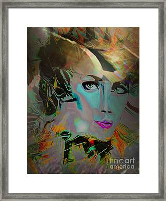 Abstract Portrait Of A Blue Lady Framed Print by Doris Wood