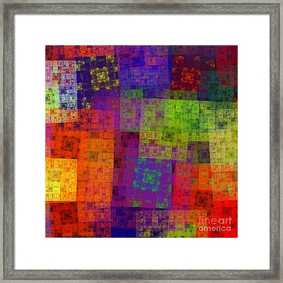 Abstract - Rainbow Bliss - Fractal - Square Framed Print by Andee Design