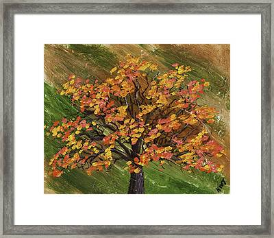 Abstract Red And Orange Tree Painting Framed Print by Keith Webber Jr