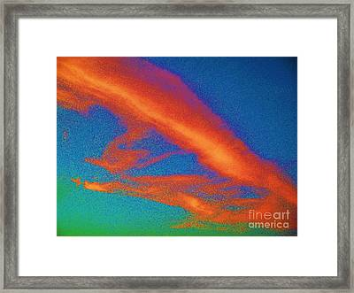 Abstract Red Blue And Green Sky Framed Print by Eric  Schiabor
