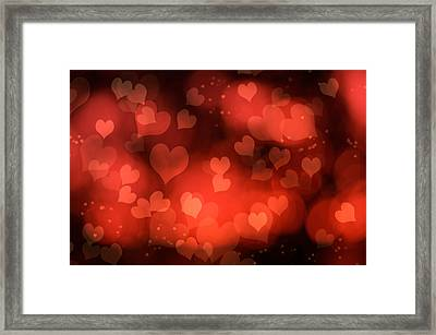 Abstract Red Hearts Framed Print by Amanda Elwell