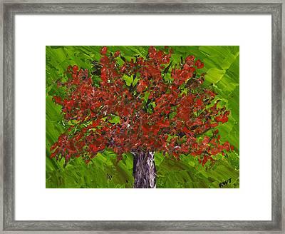 Abstract Red Maple Tree Painting Framed Print by Keith Webber Jr